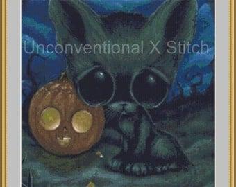 Halloween Kitten cross stitch pattern - Sadder Day Licensed Sugar Fueled