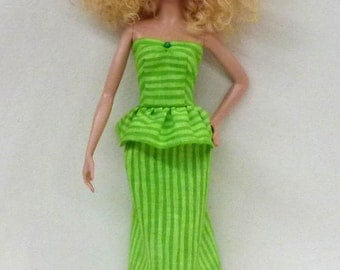 Handmade Fashion Doll Dress - lime