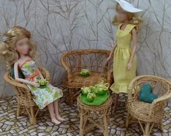 "Handmade 11.5"" Fashion Doll Dress - green leaves"