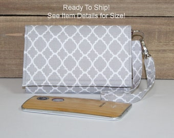Cell Phone Wallet Wristlet, Ready To Ship, Fits Droid Maxx 2 Turbo 2 Galaxy S7, S7 Edge LgG4 and More Smart Wallet 1X, Gray Lattice Coral