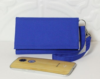 iPhone Wallet Wristlet Cell Phone Wristlet Wallet Card Holder Smartphone Case / Galaxy Moto X Nexus NEW STYLE TECH / Royal Blue Solid