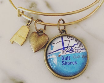 Gulf Shores Map Charm Bangle Bracelet - Personalized Map Jewelry - Stacked Bangle - Alabama - Gulf Coast - Vacation - Salt Life - Beach Time