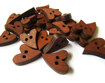 Wooden Heart Buttons Brown Two Hole Buttons Qty 25 16mm x 20mm Buttons Wood Buttons