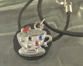 Heart Your Coffee Tea Cup Pendant Necklace