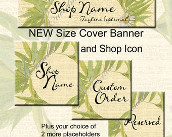 Green Leaves Etsy Shop Icons Banners Set Soft Text