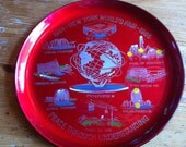 "1964- 1965 New York World's Fair Tray red 10"" around bar or wall or serving tray"