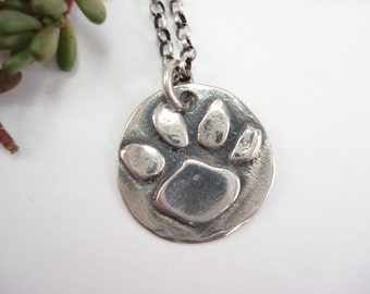 Sterling Silver Dog Paw Necklace, Sterling Silver Charm Necklace, Cat Paw, Dog Paw, 16 Inch Chain, Sterling Silver Paw Print, Necklace