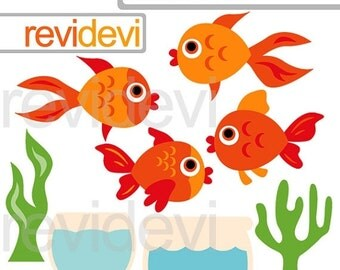 30% OFF SALE Cute Goldfish clipart - goldfish and aquarium digital clipart - fish clip art - digital images - commercial use