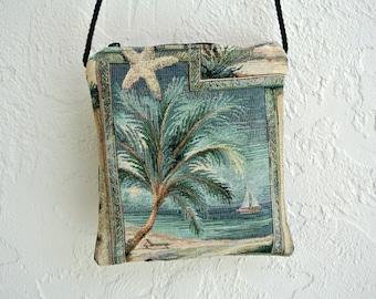 Nautical Cross Body Purse , Sling Crossbody Shoulder Bag , Tropical Handbag , Pocketbook , Small Summer Travel Purse , Gift for Her Under 50