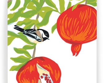 Pomegranate and Chickadee, Boxed Set of 8 Greeting Cards