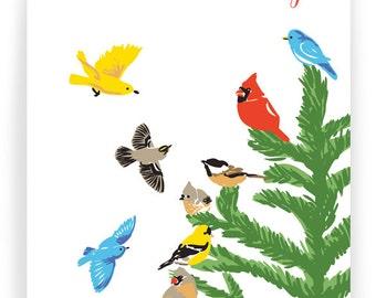 Season's Greetings Fir Tree and Birds - Box of 8 cards