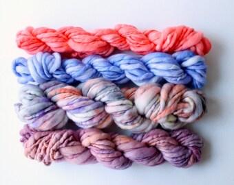 handspun yarn set, weaving creative yarn bundle, hand spun, hand dyed yarn, handspun art yarn .. witches brew
