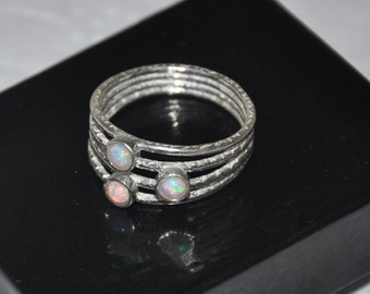 3 stone ring, Opal ring, Sterling Silver, size 6.75, Layered Rings, Statement Ring, Mother Day gift, Opal Jewelry