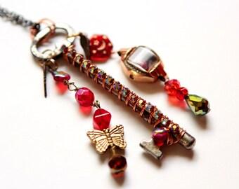 Boho Steampunk Necklace - Ruby Red Steampunk Bohemian Romance