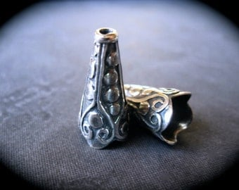 Sterling Silver Plated over white bronze Cone Ends - Bead Caps - oxidized - Intricate - High End Quality