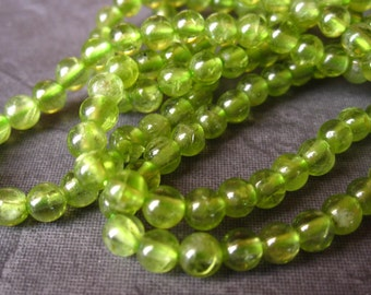 Peridot 4mm button round beads - natural and genuine semiprecious stones - 7 1/2 inches