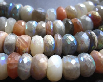 Mystic AB Multi Moonstone Faceted Rondelles - 6 1/2 inches - 8mm X 4mm