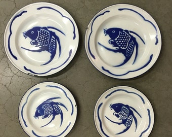 Vintage Enamel Koi Fish Plates, Set of 4, Blue and white Enamel