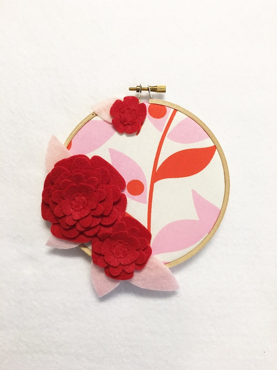 Fabric Wall Art, Embroidery Hoop Art, Red Petals, Nursery Decoration, Floral Wall Decor, Hoop Wall Hanging, Felt Flower Hoop