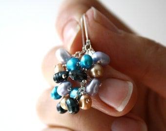Pearl Leverback Earrings . June Birthstone Earrings . Multi Color Earrings . Champagne Freshwater Pearl Earrings - Wolf Collection