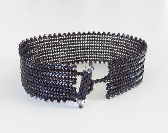 cuff bracelet,black beaded cuff bracelet,beadweave bracelet,unique black cuff bracelet,bead cuff bangle,simple contemporary cuff bracelet