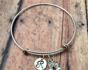 Boxing gloves initial bangle - boxing gloves jewelry, MMA jewelry, kickboxing bracelet, gift for boxer, silver boxing initial bangle
