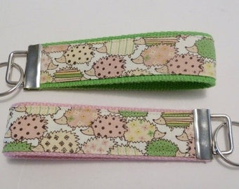 Hedgehog - Wristlet Key Fob - Mini Key Fob - Pink and Green - Gifts for her - Gifts Under 10