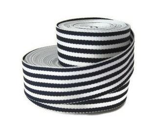 "Navy White  7/8"" Striped Grosgrain Ribbon by the Yard / Blue Ribbon / Navy Skinny Striped Ribbon / Hair Bow Supplies / Preppy Ribbon"