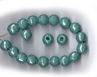 antique glass beads 1930s, rare color TEAL with an almost invisible band around the middle vintage 8mm glass beads SHABBY CHIC beads