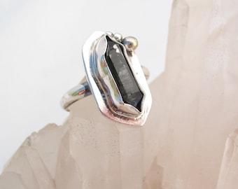 Raw Crystal Ring, Unique Ring, Tibetan Quartz, Sterling Silver, Boho Ring, Natural Crystal Ring, Raw Quartz Ring