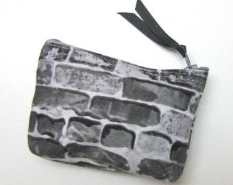 Coin purse, Small coin purse, Small zippered coin purse, Zipper coin purse, Wallet,  Grey/gray bricks