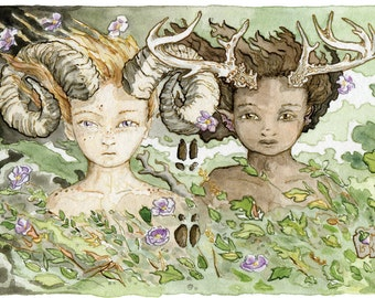 Babes in the Woods - woodland children print from The Stolen Child Tarot