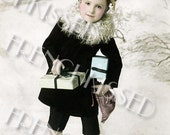 Victorian Christmas French Beret Boy with Presents Gifts Instant Download