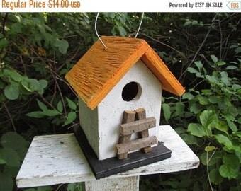 SUMMER SALE Primitive Chickadee Birdhouse White and Orange Handmade Ladder