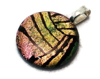 Volleyball Necklace, Water Polo Ball Necklace, Volleyball Jewelry, Water Polo Jewelry, Dichroic Glass Jewelry, Athlete Gift, Pink Sport Ball