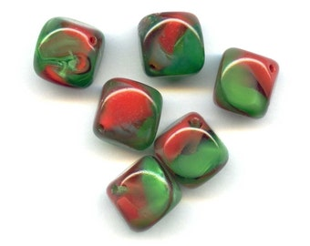 Vintage Red and Green Encased Glass Bead, Rounded Cubes (2),Large W German Encased Satin Glass With Diagonal Hole, Paperweight Beads