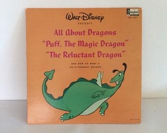 Vinyl Record Album Walt Disney Presents All About Dragons Puff the Magic Dragon 1966 33 1/3 RPM DisneyLand Record
