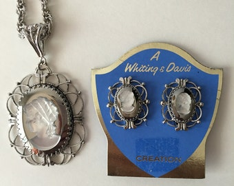Whiting and Davis Cameo Demi Parure Silvertone Clear and Smoke Grey