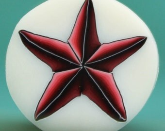 Polymer Clay Red Star Cane on Translucent Background -'Drama Queen' (43B)