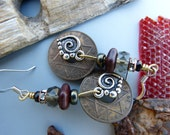 Vintage African Coin Earrings with Heart Charms