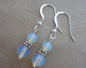 sea opal glass sterling silver earrings