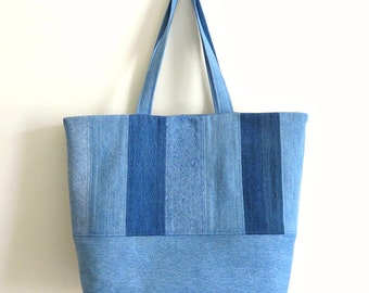 Large Denim Tote Bag, Upcycled Denim Weekend Bag, Shopper, Repurposed Denim Beach Bag