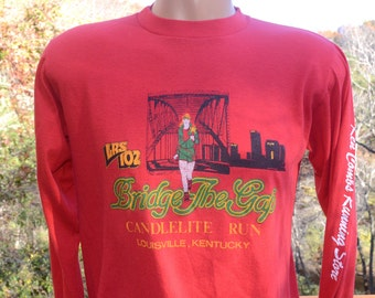 vintage 80s tee LOUISVILLE running bridge the gap road race long sleeve t-shirt Medium soft thin