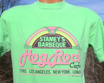 vintage 80s t-shirt neon STAMEY'S restaurant bbq barbecue hard rock tee Large Medium funny
