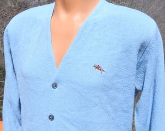 70s vintage golf CARDIGAN sweater v-neck light blue steeplechase knit jumper Medium Small preppy grandpa 80s