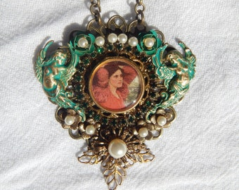 Victorian Inspired Necklace with Cherubs