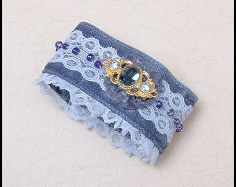 Romantic Boho Style Handmade Upcycled Hand Dyed Denim Jean Fabric Cuff Bracelet fits 8 inch wrist. (can be made smaller)
