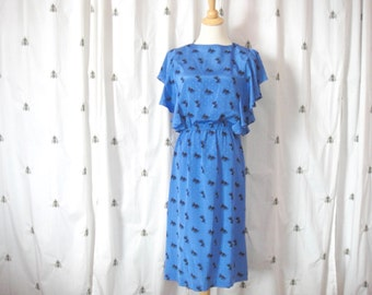 Vintage Blue and Black Midi Dress, Short Sleeve, Size Small 5/6, Nina Piccalino, Graphic Fan Print, Flouncy Sleeves, Elastic Waist