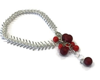 Red Bracelet   Directions Bracelet   Cherry Red Clusters with Silver Arrow Chain   Leetie Lovendale Lucite