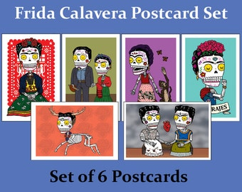 Frida Kahlo Calaveras Postcard Set (6 Day of the Dead Postcards by Jose Pulido)